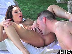 All natural babe Christiana Cinn shows her cock riding skills