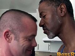 Horny bottom dude stretched out with huge black dick