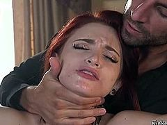 Skinny redhead anal banged by huge dick
