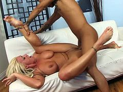 Busty blonde porn star MILF Sadie Swede takes an Asian cock and cum