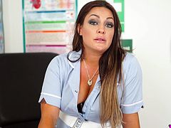 Juggy nurse in sexy uniform Roxy R is playing with her jugs and juicy pussy
