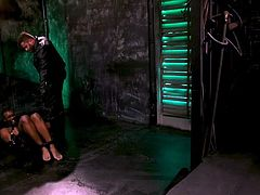 Buck Wright depends on the desires of his strict master Riley Mitchell. His movement is restricted by special leather bondage device and this is the main reason for which the black guy has to obey the will of his muscular gay master. Hardcore bdsm sex session!