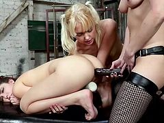 These sexy dykes love gaping their assholes wide and getting strap on shoved inside their butts. The blonde takes the dildo deep and she is going to orgasm so hard. She loves to be dominated. The brunette is next, and the strap on stretches her wide.