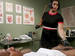 Mia Little loves to rule, unconditionally and without limit, and believe me, despite her strangeness, the guys are lining up in order to get at least a few minutes of her rough bdsm tortures. Kinky cock torture in interracial bdsm session!