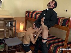 Joris cant help lusting after the cute young Latino. Fortunately for him, Dimitri is into older men and when he picks up on the priests sexual desires it isnt long before Joris is getting his big dick sucked. An oral exchange follows, before skinny and smooth Dimitri is spun around for an ass licking. Then tongue is replaced with stiff daddy cock and the not so innocent boy takes a good bareback fucking from the mature priest.