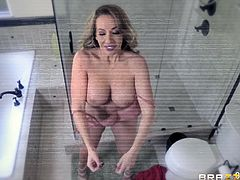 Yes, the fact that he installed a hidden camera in the bathroom was against the rules. Yes, he needed to warn everyone and ask permission, but everything was done on purpose and... here is the result. Relax and enjoy impetuous sex session right in the bathroom! The busty milf seduced her stepson. Hot!