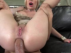 This blonde babe with huge round tits adores when Chris's fat and hard cock drills her tight asshole in reverse cowgirl position, as she is out of her mind with how great she feels. Candy Cherry joins the hot couple and starts licking Isabella's juicy pussy at the same time... Enjoy hot threesome at its best!