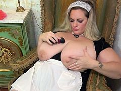 I think in the house where Sophia Lola works, can not be clean, because she has no time to do the cleaning. Just take a look at how this slutty maid with extremely huge tits is having fun during working hours... Hot stuff!
