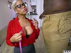 This busty blonde milf is a dressmaker and sometimes, when especially beautiful and sexy customers come to her, she cannot withstand their charm. Today she has such a muscular and handsome black guy, and when he undressed for a fitting, she jumped on him and started to suck his big black cock