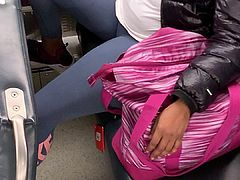 Big Ebony Spandex Cameltoe on train