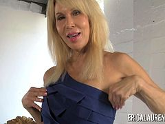 Busty blonde MILF Erica Lauren plays with her toys