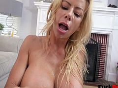 Alexis Fawx is a busty mature milf who likes taking a proactive role in her stepsons life, even when he has friends around. Her stepson and his best bud were just sitting around watching tv and she decided to stop in and pleasure her son while his friend watched. It was surprisingly not that awkward, just super hot! A day later the boys were just chilling in the kitchen until Alexis showed up to prepare her son for the day. A quick blowie and cum swallow prepared both of the boys for the day ahead. A few days later Alexis answered her door only to be greeted by her sons friend. He was wonderin