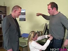 Enjoy this amateur German Office threesome sex scene with a busty blonde slut with huge juggs and Peter und Michael fucking hardcore
