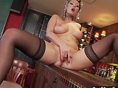Check out this smoking hot and horny blonde mature fuck slut masturbating in the bar.Watch her rubbing and fingering her wet pussy in HD.