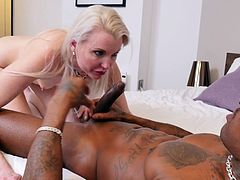 Check out this smoking hot and horny blonde mature fuck slut getting her wet pussy drilled by a black monster cock.Watch her banged in HD.