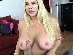 Check out this smoking hot and horny blonde chubby MILF with huge boobs getting her pussy drilled.Watch her sucking and fucking in HD.
