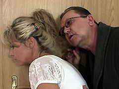 Old man licks and fucks her young shaved cunt