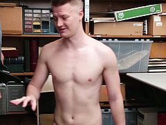 YoungPerps - Tall blonde straight boy barebacked by older horny security guard