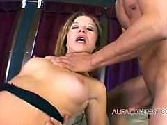 Young babe gets her ass demolished by two guys