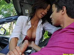 To be fair, perhaps it was she, who attacked this guy, showing him not only her huge and seductive tits but also a clear intention to fuck him right here, in this car. At first, the guy was even a little scared, but then, really appreciating attractive prospects, he smiled and took out his already hard penis... Join for more!