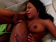 Hot ebony babe loves when her man fucks her as hard as he can.