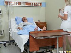 the sexy nurse fucked keiran right in the hospital ward