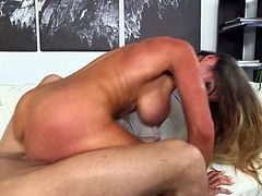 Check out this smoking hot and horny brunette MILF with juicy tits getting her pussy drilled hard.Watch her sucking and fucking in HD.