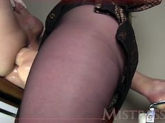 Check out this smoking hot and horny mature dominant woman fucking with a strap on her male slave in his tight asshole.Watch in HD.