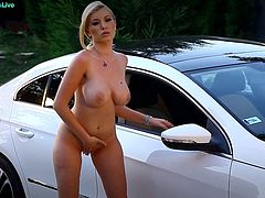 We all know that most of men today enjoy watching carwash models getting wet and wild. You can see a lot of videos from that in the internet but Donna Bell certainly hit the spot. She knows men loves cars and hot women that is why she started to tease right beside her sports car. She knows how to show off well her goodies as she removes her clothes one by one slowly. She love to reveal her huge boobs and her pink nipples at first before instructing the camera guy to focus on her huge butt and shaved pussy. She slapped her ass cheeks and started to play with her pussy with her magical fingers.