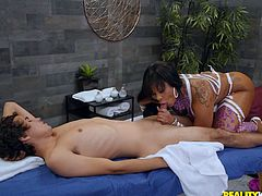 Ricky Spanish came for a massage, but when he saw this sexy ebony masseuse, his only desire was to fuck her. Fortunately he has a big white cock and he managed to easily seduce the black busty milf. Enjoy interracial sex action on the massage table!