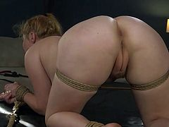 A couple of lashes and the blonde busty babe is ready to get his thick dick straight into her tight asshole, but no... the angry guy decides to start with her pussy and inserts his rock hard dick into her already wet cunt...