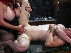 Bella will only allow her slave to cum if he has been good. The ropes are wrapped tightly around his weak body. The strap on is so big, and he is in serious pain when the mistress fucks his tight butthole. Her grip is so tight as she jacks him off.