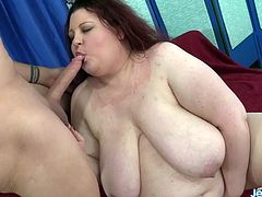 Horny BBW sucks a long and stiff cock so nice Le lets the guy suck her tits Later she takes his dick in her asshole and get fucked hard and deep He spills cum over her lips and chin