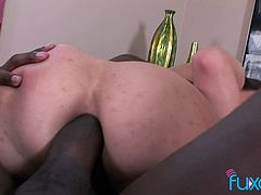 Amber Rayne interracial anal creampie with BBC buddy fucking her as