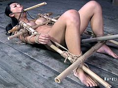 The busty Korean babe is left tied up by a creep. He demands obedience and he slowly breaks her down! By the end, she is tied up tight, suffering and squirting.