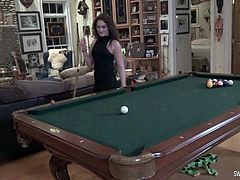 Hot MILFs stripping while playing pool ending up fingering and licking each others pussies on the pool table