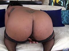 Ebony BBW gets naked and show her ass and chubby pussy She rubs it with her fingers Then she tease her pussy using sex toys like dildo and vibrators until she has an orgasm