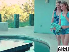 Teens Kristen Scott and Nickey Huntsman are on the poolside practising mouth to mouth. After some sweet practice, these two sluts are both horny and starts sharing kisses passionately. Then they move the action to Kristens bedroom and eats each other.