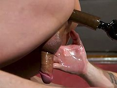 Tied with ropes and suspended in the middle of the room, this blindfolded sex slave receives punishing dildos from both sides simultaneously, one in the mouth and one in the ass. Want to enjoy hot gay threesome with kinky bdsm? Join and you will never regret!