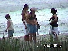 Girls Changing Clothes on The Beach