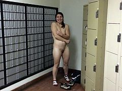 Camille taking her clothes off in the post office
