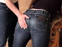 Caned over tight jeans Daddy boy